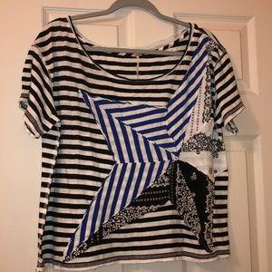 Free People Wide Neck Stripe Star Oversize T-shirt
